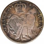 Undated (Circa 1663-1672) St. Patrick Halfpenny.  W-11540, Vlack 1-A. Copper. Reeded Edge.  Large Le