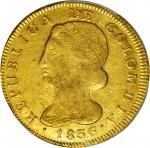 COLOMBIA. 1836-UR 8 Escudos. Popayán mint. Restrepo M166.43. AU-53 (PCGS).