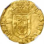 PORTUGAL. 500 Reis (Cruzado), ND (1557-78). Sebastian I. NGC AU-58.