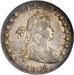 1806/5 Draped Bust Half Dollar. O-102, T-7. Rarity-3+. AU-55 (NGC).