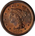 1855 Braided Hair Cent. N-4. Rarity-1. Upright 5s. MS-66 RB (PCGS). CAC.