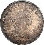 1798 Draped Bust Silver Dollar. Heraldic Eagle. BB-123, B-25. Rarity-4. Pointed 9, Close Date. AU-53