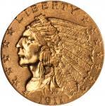 1911-D Indian Quarter Eagle. AU-58 (NGC).