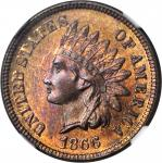1866 Indian Cent. MS-65 RB (NGC).