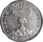 CHILE. Peso, 1821-SoFD. NGC AU-55.