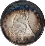 1868 Liberty Seated Quarter. Proof-66 Cameo (PCGS).
