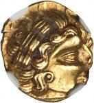 GAUL. Uncertain. AV 1/4 Stater (1.85 gms), ca. 2nd-1st Century B.C. NGC AU*, Strike: 5/5 Surface: 5/