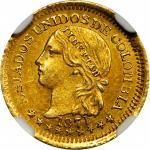 COLOMBIA. 1871 Peso. Bogotá mint. Restrepo 322.1. MS-62 (NGC).