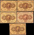 Lot of (5) Fr. 1228, 1229, 1230 & 1231. 5 Cents. First Issue. About Uncirculated.