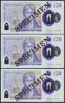 Bank of England, Sarah John, polymer £20, ND (20 February 2020), serial number AA01 000069/70/71, pu