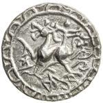 TRIPURA: Amara Manikya, 1577-1586, AR tanka (10.71g), SE1499 (1577), KM-90, Rh-155, lion left, stand