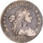 1798 Draped Bust Silver Dollar. Small Eagle. BB-82, B-1a. Rarity-3. 13 Stars on Obverse. VF Details-