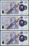 Bank of England, Sarah John, polymer £20, ND (20 February 2020), serial number AA01 000488/588/688,