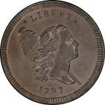 1797 Liberty Cap Half Cent. Cohen-2. Rarity-3. Centered Head. Plain Edge. Mint State-66 BN (PCGS).