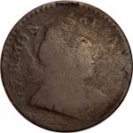 1788 Vermont Copper. RR-35, Bressett 20-X, W-2130. Rarity-6+. Bust Right, *ET LIB* *INDIE--Overstruc