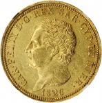 ITALY. Sardinia. 80 Lire, 1826-L. Turin Mint; mm: eagle. Carlo Felice. NGC MS-60.