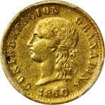 COLOMBIA. 1860 2 Pesos. Popayán mint. Restrepo 231.2. AU-53 (PCGS).