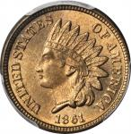 1861 Indian Cent. MS-65+ (PCGS). CAC.