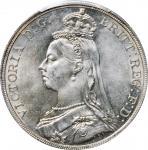 1889年壹圆银币。维多利亚。伦敦铸币厂。 GREAT BRITAIN. Crown, 1889. London Mint. Victoria. PCGS MS-64.