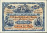 Clydesdale Bank Limited, £1, 21 May 1924, serial number A1994515, blue on orange underprint, allegor