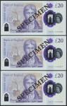 Bank of England, Sarah John, polymer £20, ND (20 February 2020), serial number AA01 000066/67/68, pu