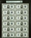 Uncut Sheet of (12) Fr. 1652. 1934B $5 Silver Certificates. PMG Choice Uncirculated 64.