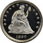1890 Liberty Seated Quarter. Proof-68 Deep Cameo (PCGS).