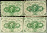 Lot of (4) Fr. 1240, 1241, 1242 & 1243. 10 Cents. First Issue. About Uncirculated.
