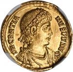 GRATIAN, A.D. 367-383. AV Solidus (4.44 gms), Constantinople Mint, ca. A.D. 373-383. NGC Ch AU, Stri
