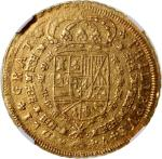 1711/OS M西班牙8士姑度金币,NGC AU55,十分罕见