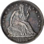 1888 Liberty Seated Half Dollar. WB-101. Proof-61 (PCGS).