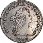 1798 Draped Bust Silver Dollar. Heraldic Eagle. BB-120, B-12. Pointed 9, Close Date. VF Details--Obv
