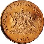 TRINIDAD & TOBAGO. 5 Cents, 1981. Franklin Mint. PCGS SPECIMEN-67 Red Gold Shield.