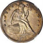 1866 Liberty Seated Silver Dollar. OC-1. Rarity-2. Repunched Date, Doubled Die Reverse. MS-61 (NGC).