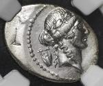 "Roman republic 共和制ローマ AR Denarius 42BC NGC-VF ""bankers mark"" 小加刻印、オフセンター VF"