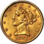 1892-CC Liberty Head Half Eagle. MS-62 (PCGS).