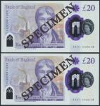 Bank of England, Sarah John, polymer £20, ND (20 February 2020), serial number AA01 002013/2014/2015