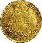 COLOMBIA. 8 Escudos, 1814-JF. Popayan Mint. PCGS AU-50 Gold Shield.