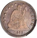 1869 Liberty Seated Quarter. Briggs 1-A. Fine-12 (PCGS).