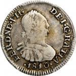 COLOMBIA. 1810-JJ 1/2 Real. Santa Fe de Nuevo Reino (Bogotá) mint. Ferdinand VII (1808-1833). Restre