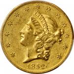 1852-O Liberty Head Double Eagle. Winter-1, the only known dies. AU-55 (PCGS). CAC.