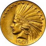 1907 Indian Eagle. Indian. Wire Rim, Periods. Judd-1901, Pollock-1995. Rarity-3. Raised Stars on Edg