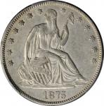 1875-CC Liberty Seated Half Dollar. WB-5. Rarity-3. Repunched Mintmark. EF-45+ (PCGS). CAC.