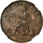 NEW ZEALAND. Auckland. H. Ashton. 1/2 Penny Token, 1859. NGC MS-61 BN.