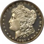 1887 Morgan Silver Dollar. Proof-66 Cameo (PCGS).