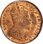 CEYLON. 1/2 Cent, 1908. London Mint. PCGS MS-63 Red Brown Gold Shield.