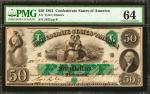 T-6. Confederate Currency. 1861 $50. PMG Choice Uncirculated 64.
