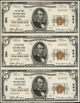 Uncut Sheet of (3) Clinton, Iowa. $5 1929 Ty. 2. Fr. 1800-2. The Clinton NB. Charter #994. Uncircula