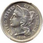 1886 Nickel Three-Cent Piece. Proof-65 (PCGS).