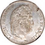 1834-H年5法郎。拉罗谢尔铸币厂。路易菲利普一世。 FRANCE. 5 Francs, 1834-H. La Rochelle Mint. Louis Philippe I. NGC MS-62.